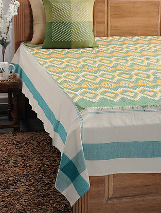 Green and Orange Ikat Cotton Double Bedcover (108in x 89in)