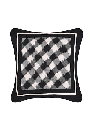 Black and White Handloom Double Ikat Cotton Cushion Cover (16in x 16in)