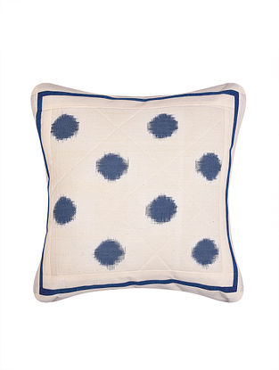White and Grey Handloom Double Ikat Cotton Cushion Cover (16in x 16in)