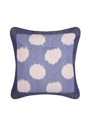 Navy and White Handloom Ikat Cotton Cushion Cover (16in x 16in)