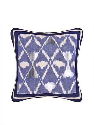 Blue and White Handloom Ikat Cotton Cushion Cover (16in x 16in)