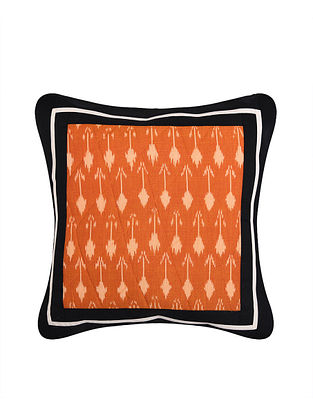 Rust and White Handloom Ikat Cotton Cushion Cover (16in x 16in)