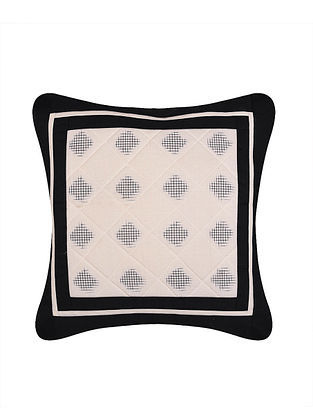 White and Blue Handloom Double Ikat Cotton Cushion Cover (16in x 16in)