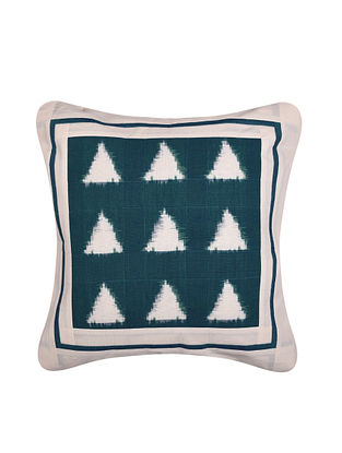 Green and White Handloom Double Ikat Cotton Cushion Cover (16in x 16in)