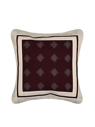 Maroon and White Handloom Double Ikat Cotton Cushion Cover (16in x 16in)