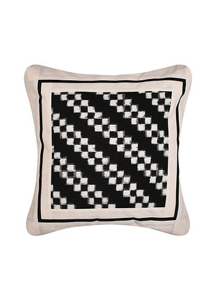 White and Black Handloom Double Ikat Cotton Cushion Cover (16in x 16in)