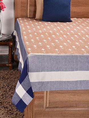 Multicolored Handloom Ikat Cotton Double Bedcover (107in x 89in)