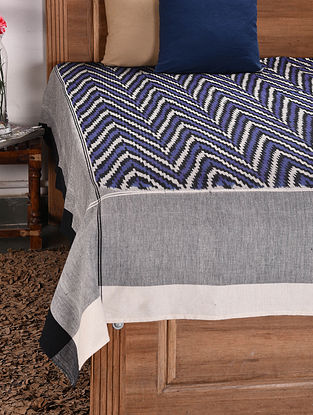 Blue and Grey Handloom Ikat Cotton Double Bedcover (112in x 90in)
