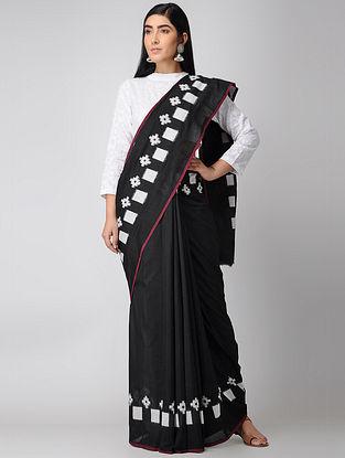Black-Ivory Double Ikat Cotton Saree