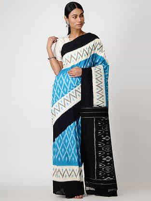 Blue-Black Ikat Cotton Saree