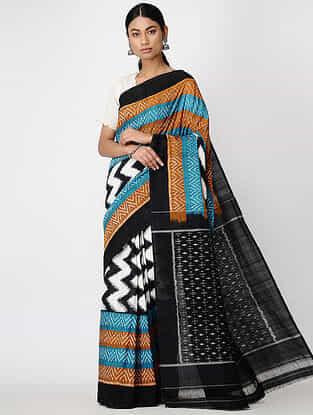 Black-Blue Ikat Cotton Saree