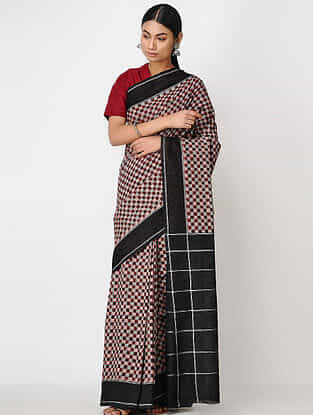 Maroon-Black Ikat Cotton Saree