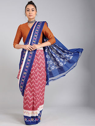 Blue-Pink Handwoven Ikat Cotton Saree