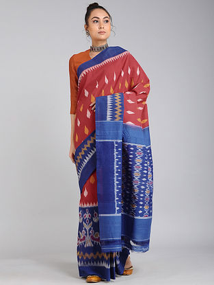 Rust-Blue Handwoven Ikat Cotton Saree