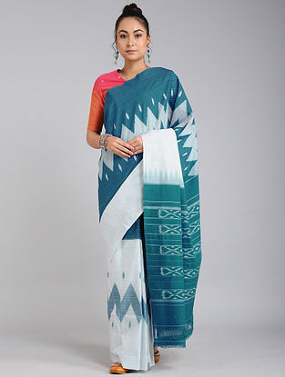 Ivory-Blue Handwoven Ikat Cotton Saree
