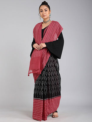 Black-Pink Handwoven Ikat Cotton Saree