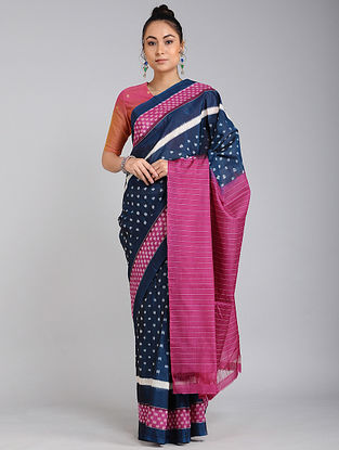 Pink-Blue Handwoven Ikat Tussar Cotton Saree