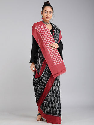 Black-Red Handwoven Ikat Tussar Cotton Saree