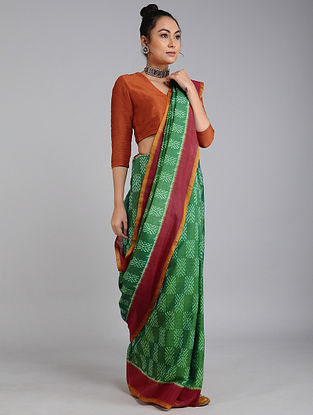 Green-Red Handwoven Ikat Tussar Cotton Saree