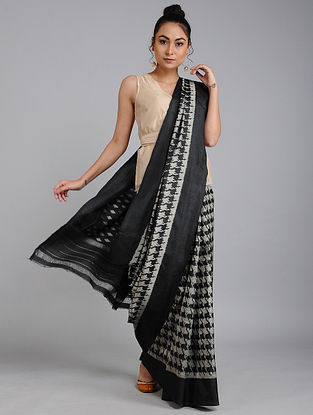 Black-Ivory Ikat Tussar Silk Saree