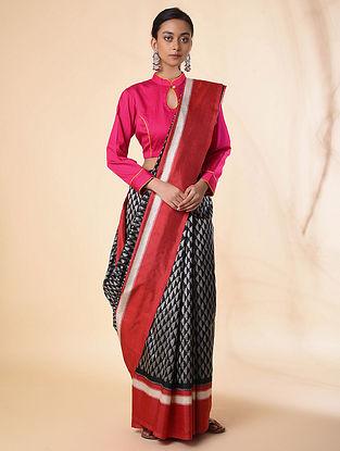 Black-Red Ikat Tussar Silk Saree