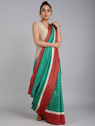 Green-Red Ikat Tussar Silk Saree