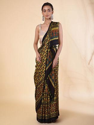 Black-Yellow Block Printed Tussar Silk Saree