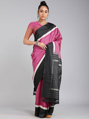 Pink-Black Ikat Tussar Silk Saree