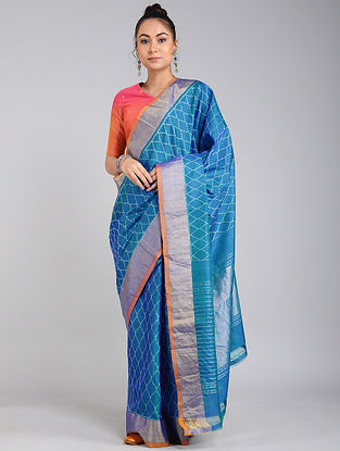 Blue Ikat Tussar Silk Saree with Zari Border