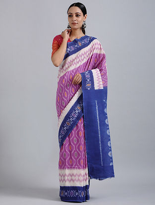 Purple-Ivory Handwoven Ikat Cotton Saree