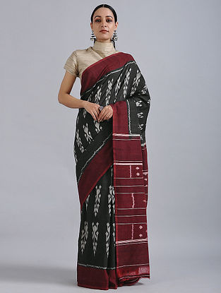 Black-Maroon Handwoven Ikat Cotton Saree