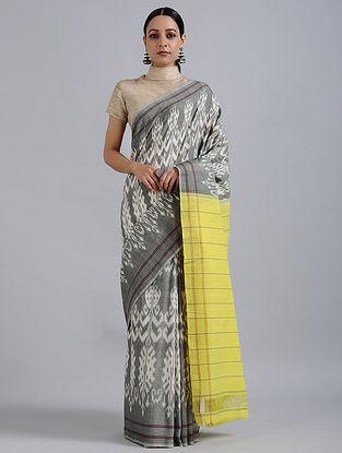 Grey-Yellow Handwoven Ikat Cotton Saree