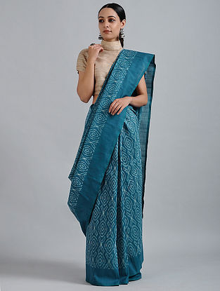 Blue-Ivory Handwoven Ikat Cotton Saree