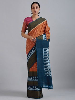 Orange-Blue Handwoven Ikat Cotton Saree