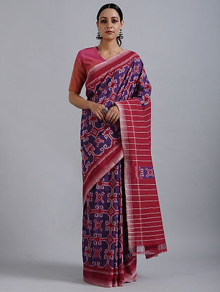 Purple-Red Handwoven Ikat Cotton Saree