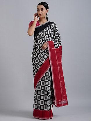 Black-Red Handwoven Ikat Cotton Saree