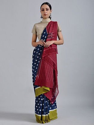 Blue-Red Handwoven Ikat Cotton Saree