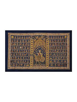 Goddess Bahuchar Mata Ni Pachedi Kalamkari Artwork on Textile (40in x 64in)