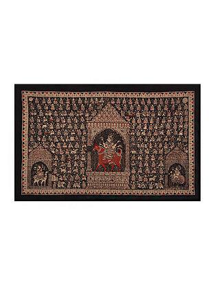 Goddess Meldi Mata Ni Pachedi Kalamkari Artwork on Textile (45in x 67in)