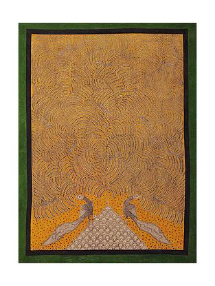 Peacock and Tree of Life Mata Ni Pachedi Kalamkari Artwork on Textile (52in x 39in)