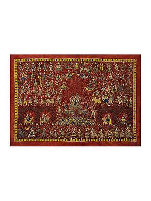 Goddess Visat Mata Ni Pachedi Kalamkari Artwork on Textile (37.5in x 52in)