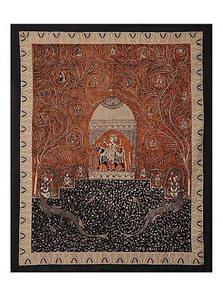 Goddess Meldi and Tree of Life Mata Ni Pachedi Kalamkari Artwork on Textile (49.5in x 41in)