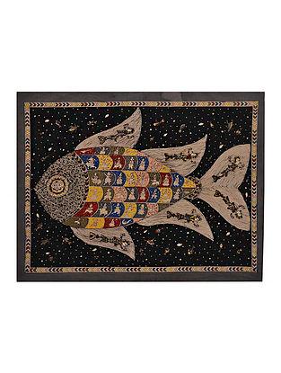 Fish and Sea Life Mata Ni Pachedi Kalamkari Artwork on Textile (47in x 36.5in)