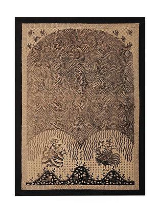 Goddess Bahuchar and Meldi Mata Ni Pachedi Kalamkari Artwork on Textile (48in x 35in)