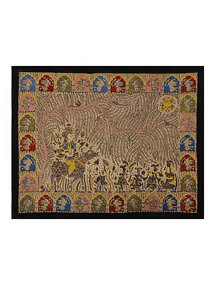Goddess Sagat Mata Ni Pachedi Kalamkari Artwork on Textile (39.5in x 50in)
