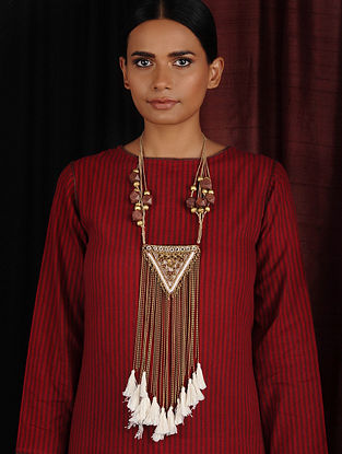 Brown Gold Hand Embroidered Necklace with Mirrors