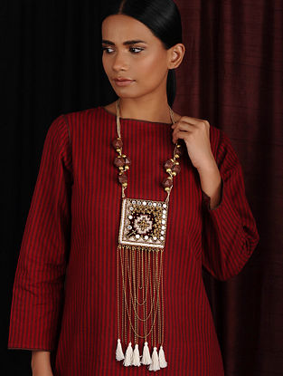 Brown Maroon Gold Hand Embroidered Necklace with Mirrors