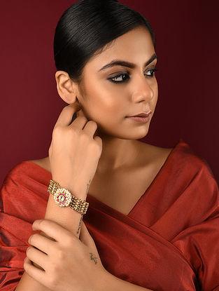 Pink Gold Tone Kundan Inspired Brass Bracelet