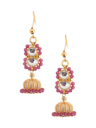 Pink Gold Tone Kundan Inspired Brass Earrings