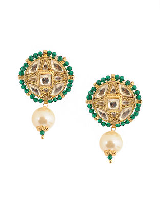 Green Gold Tone Kundan Inspired Brass Jhumkis